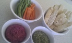 Dips with turkish bread and veggie sticks