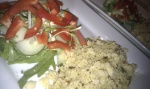 Home fusion cooking- Cous cous, thai green curry, salad