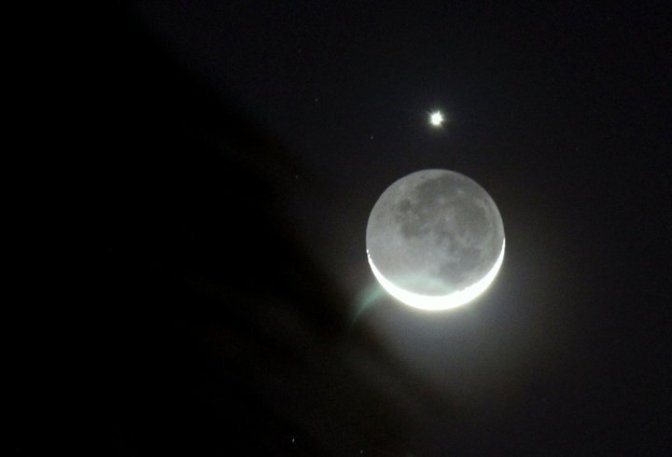 Crescent moon and venus